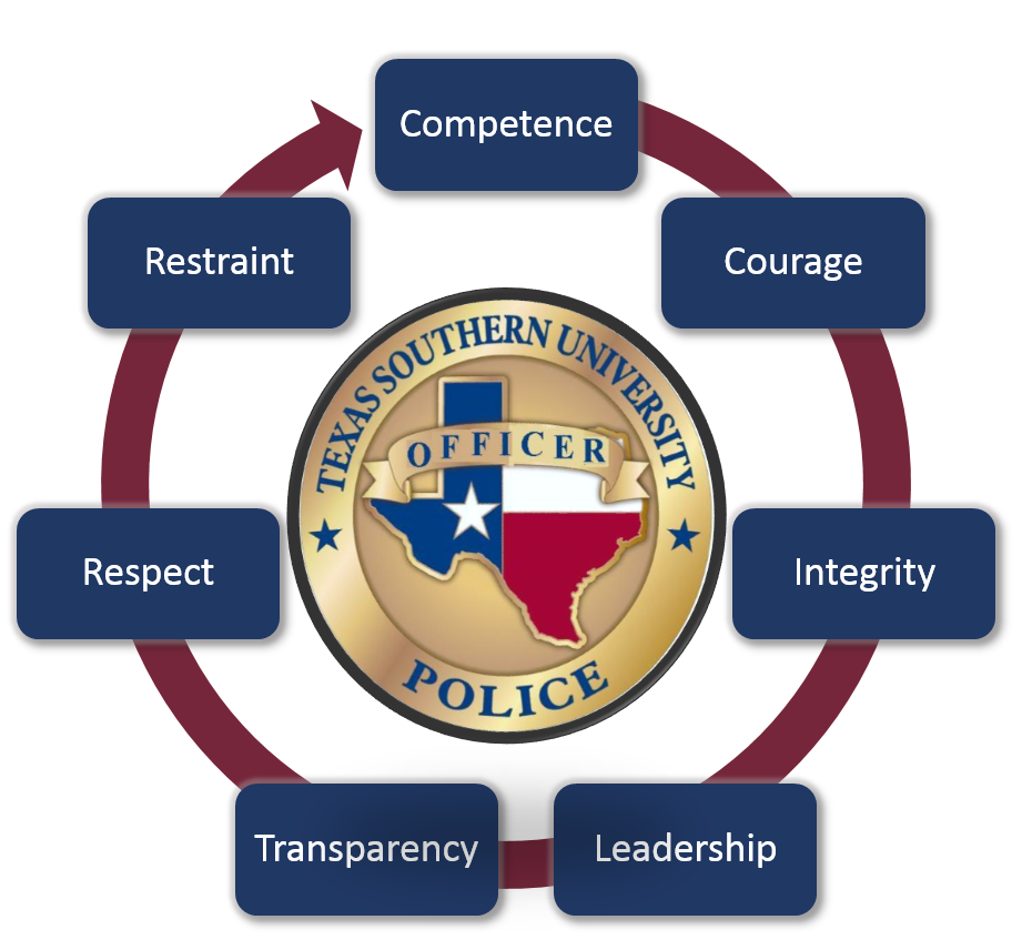 Core value of D P S is competence, Courage, Integrity, Leadership, Transparency, Leadership, Respect, Restraint